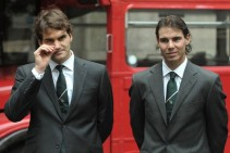 Rodger Federer of Switzerland (L) and Ra